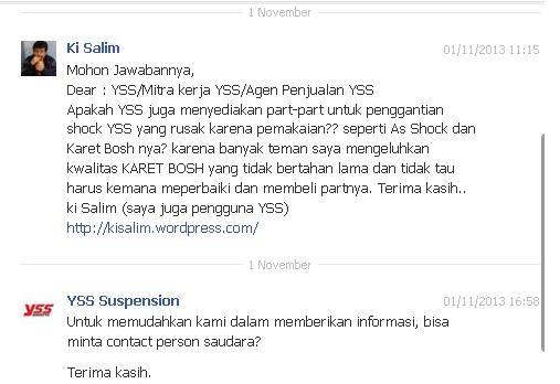 Pesan saya ke Fans Page YSS Suspension